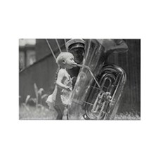 Baby Playing Tuba Rectangle Magnet