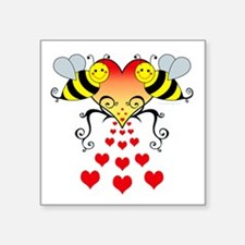 "BeesHeartsDARK Square Sticker 3"" x 3"""