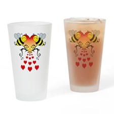BeesHeartsDARK Drinking Glass