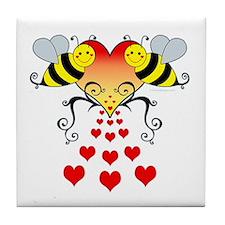 BeesHeartsDARK Tile Coaster