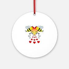 BeesHeartsDARK Round Ornament