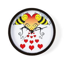 BeesHeartsDARK Wall Clock