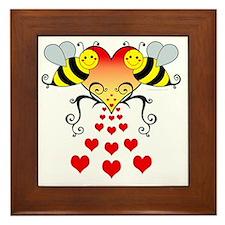 BeesHeartsDARK Framed Tile