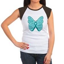 Butterfly Peritoneal Cancer Women's Cap Sleeve T-S