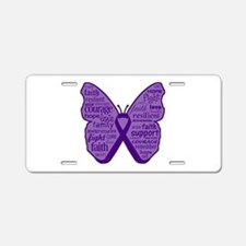 Butterfly Pancreatic Cancer Aluminum License Plate