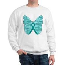 Butterfly Ovarian Cancer Ribbon Sweatshirt