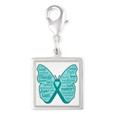 Butterfly Ovarian Cancer Ribbon Silver Square Char