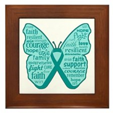 Butterfly Ovarian Cancer Ribbon Framed Tile