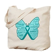 Butterfly Ovarian Cancer Ribbon Tote Bag