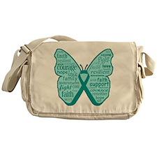 Butterfly Ovarian Cancer Ribbon Messenger Bag