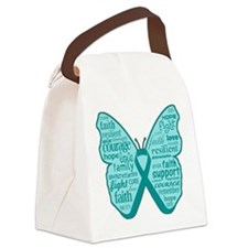 Butterfly Ovarian Cancer Ribbon Canvas Lunch Bag