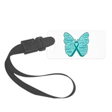 Butterfly Ovarian Cancer Ribbon Luggage Tag
