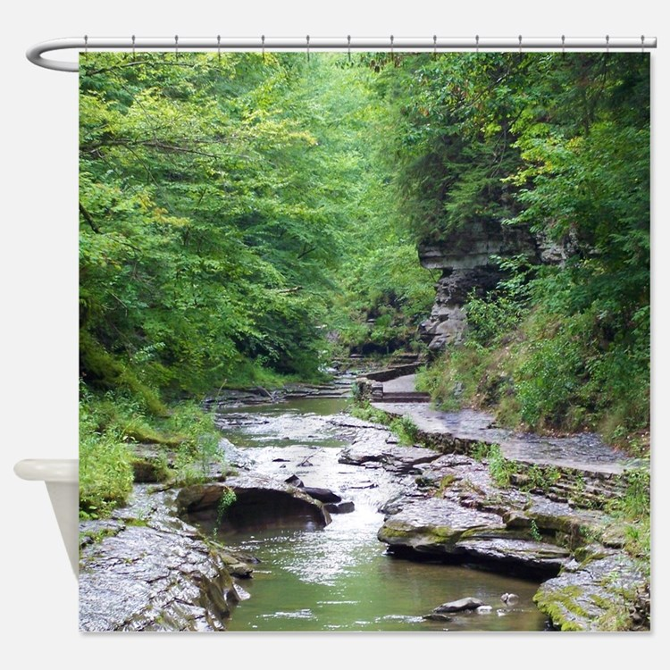 Scenery Curtains forest scene shower curtains | forest scene fabric shower curtain