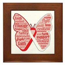 Butterfly Oral Cancer Ribbon Framed Tile