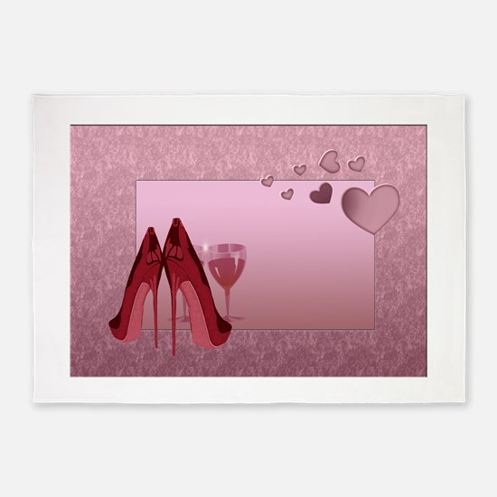 Stylish Red Stilettos And Pink Hearts 5'X7'area Ru