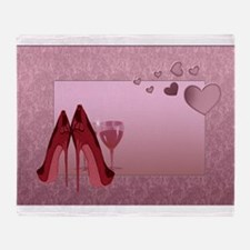 Stylish Red Stilettos And Pink Hearts Throw Blanke