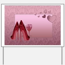 Stylish Red Stilettos And Pink Hearts Yard Sign