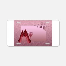 Stylish Red Stilettos And Pink Hearts Aluminum Lic