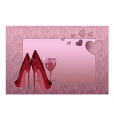 Stylish Red Stilettos And Pink Hearts Postcards (P