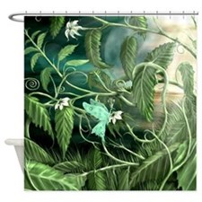 Flower Leaf Dragon Shower Curtain