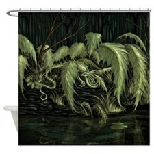Swamp Leaf Dragon Shower Curtain