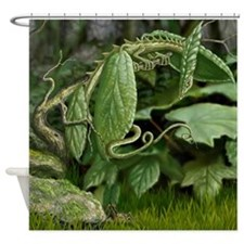 Black Twinberry Leaf Dragon Shower Curtain