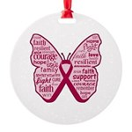 Butterfly Multiple Myeloma Round Ornament