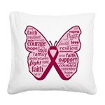 Butterfly Multiple Myeloma Square Canvas Pillow