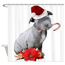 Christmas Pitbull puppy Shower Curtain