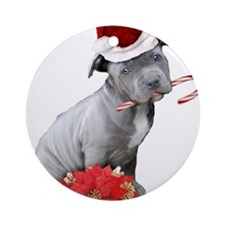 Christmas Pitbull puppy Ornament (Round)