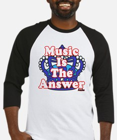 Music is the answer on black png Baseball Jersey