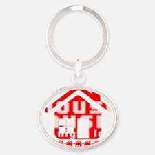 House Music all night long on black Oval Keychain