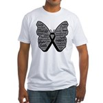 Butterfly Melanoma Ribbon Fitted T-Shirt