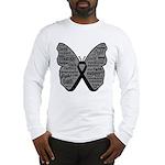 Butterfly Melanoma Ribbon Long Sleeve T-Shirt