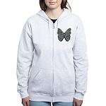Butterfly Melanoma Ribbon Women's Zip Hoodie