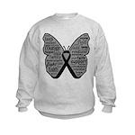 Butterfly Melanoma Ribbon Kids Sweatshirt