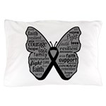 Butterfly Melanoma Ribbon Pillow Case