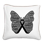 Butterfly Melanoma Ribbon Square Canvas Pillow