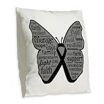 Butterfly Melanoma Ribbon Burlap Throw Pillow