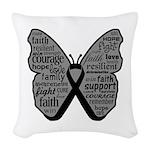 Butterfly Melanoma Ribbon Woven Throw Pillow