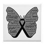 Butterfly Melanoma Ribbon Tile Coaster