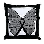 Butterfly Melanoma Ribbon Throw Pillow