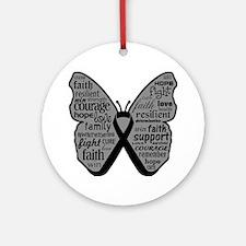Butterfly Melanoma Ribbon Ornament (Round)