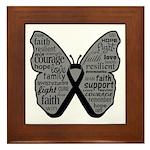 Butterfly Melanoma Ribbon Framed Tile