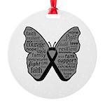 Butterfly Melanoma Ribbon Round Ornament