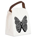 Butterfly Melanoma Ribbon Canvas Lunch Bag