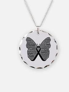 Butterfly Melanoma Ribbon Necklace