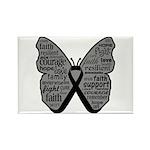 Butterfly Melanoma Ribbon Rectangle Magnet (100 pa