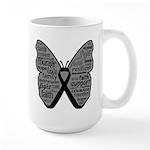 Butterfly Melanoma Ribbon Large Mug