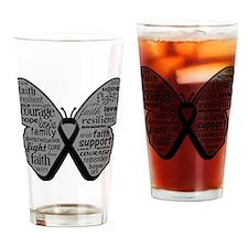 Butterfly Melanoma Ribbon Drinking Glass